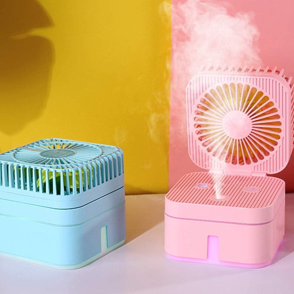 WOZOW Humidificador de Ventilador Cubo de Cubo Portátil Con Atmósfera Lámpara de Oficina Ventilador Humidificador de Purificación de Aire Portátil Mini Ventilador: Amazon.es: Hogar