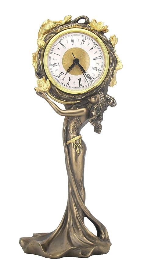 Reloj de mesa estilo moderno Mujer Reloj Decorativo Reloj de Chimenea Antiguo Figura femenina vintage Palazzo