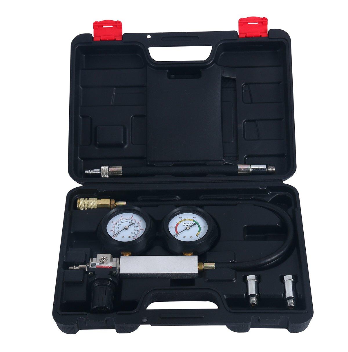 8MILELAKE Engine Cylinder Leak down Tester Dual Gauge Diagnostic Kit 12 or 14mm Spark Plugs TU-21 Cylinder Leak Tester