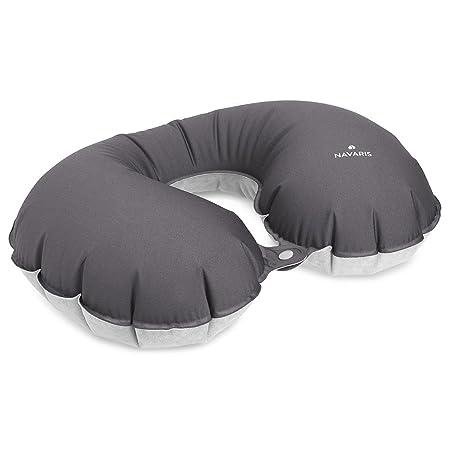 Navaris Almohada de Viaje Inflable - Almohada Cervical Suave para inflar - Cojín de Descanso para Cuello - Travel Pillow ergonómica en Gris