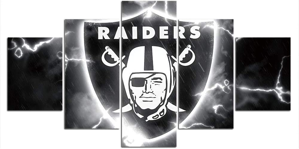 Oakland Raiders Wall Decor Art Paintings 5 Piece Canvas Picture Artwork Living Room Prints Poster Decoration Wooden Framed Ready to Hang(60''Wx32''H)