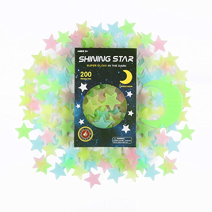 Beautiful Wall Decal Room Decors Galaxy Glow Star Set For Kids Bedroom or Birthday Gift 3D Glow in The Dark Stars Ceiling or Wall Stickers fesfesfes Luminous Fluorescent Dots and Moon for Starry Sky