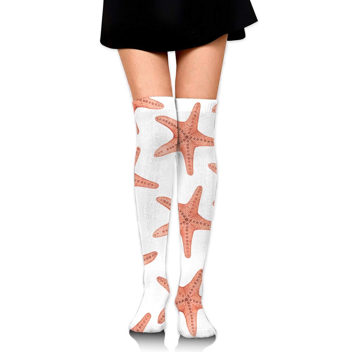 High Elasticity Girl Cotton Knee High Socks Uniform Orange Starfish Women Tube Socks