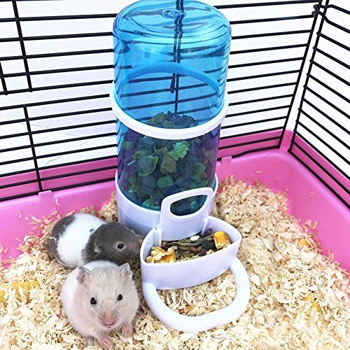 Small Animals Hamster Feeder Automatic Hamster Food &Water Dispenser With Holder fit for Hamster Hedgepig Rabbit Birds by ZoeZ(Thick Bottle)