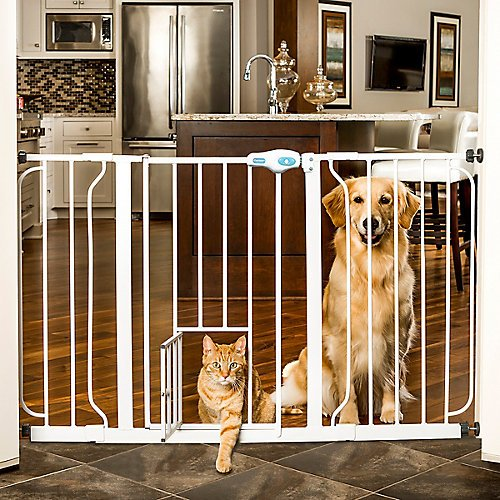 Carlson Pet White Extra Wide Gate with Pet Door For Sale