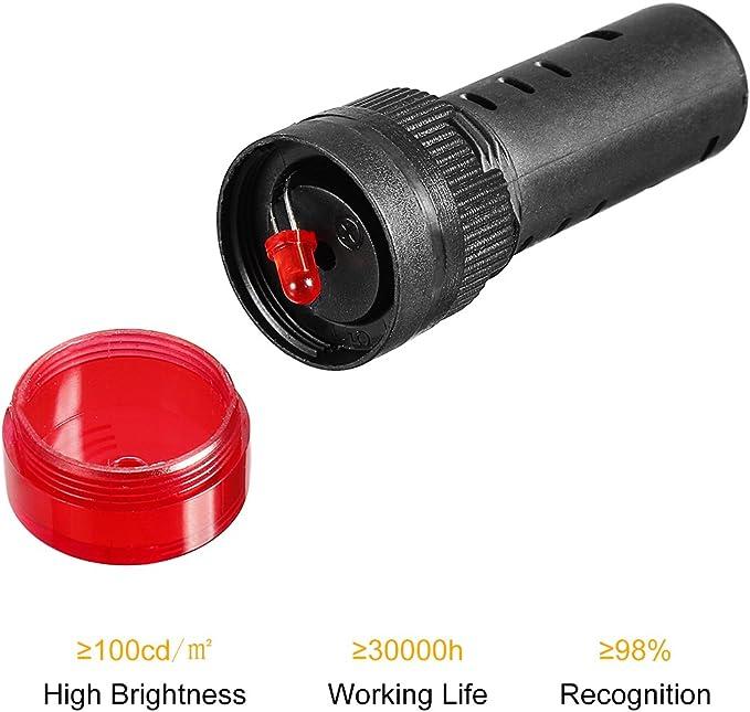 3 rote LED 24/V blinkender Alarm f/ür Anzeigetafel mit Summer sourcing map Pilotlampe 220/V 24V 16/mm 12/V 3Qty