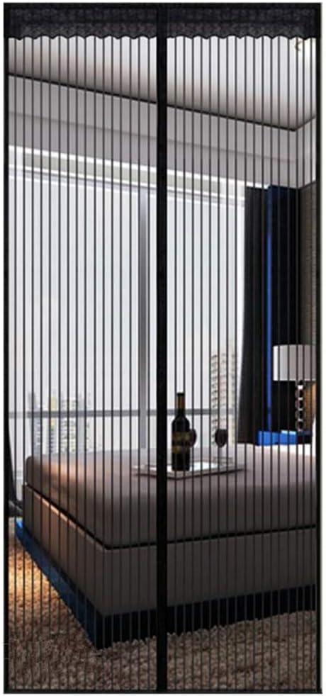 SHIMENLAN Mosquito Puerta de Pantalla magnética,Heavy Duty Autoadhesivo Actualizado De Este Hotel de Mascotas y niño Francés Puerta corredera Patio Puerta Doble-Negro 80x200cm(31x79inch)