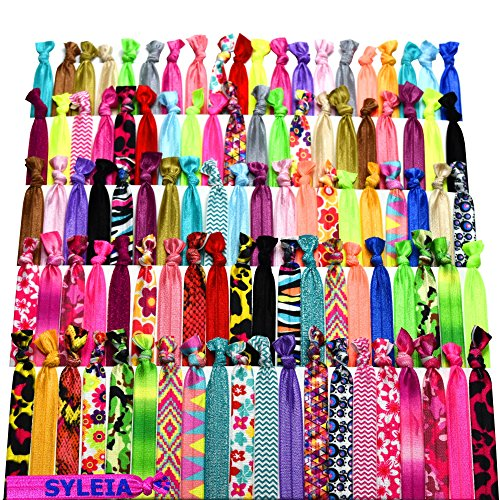 (Syleia 100 Hair Ties - Printed Patterns and Solid Colors - Plus One Bonus Hair Tie - Elastic Ponytail Holders No Crease Hand Knotted Fold Over Assorted 100 Pack)