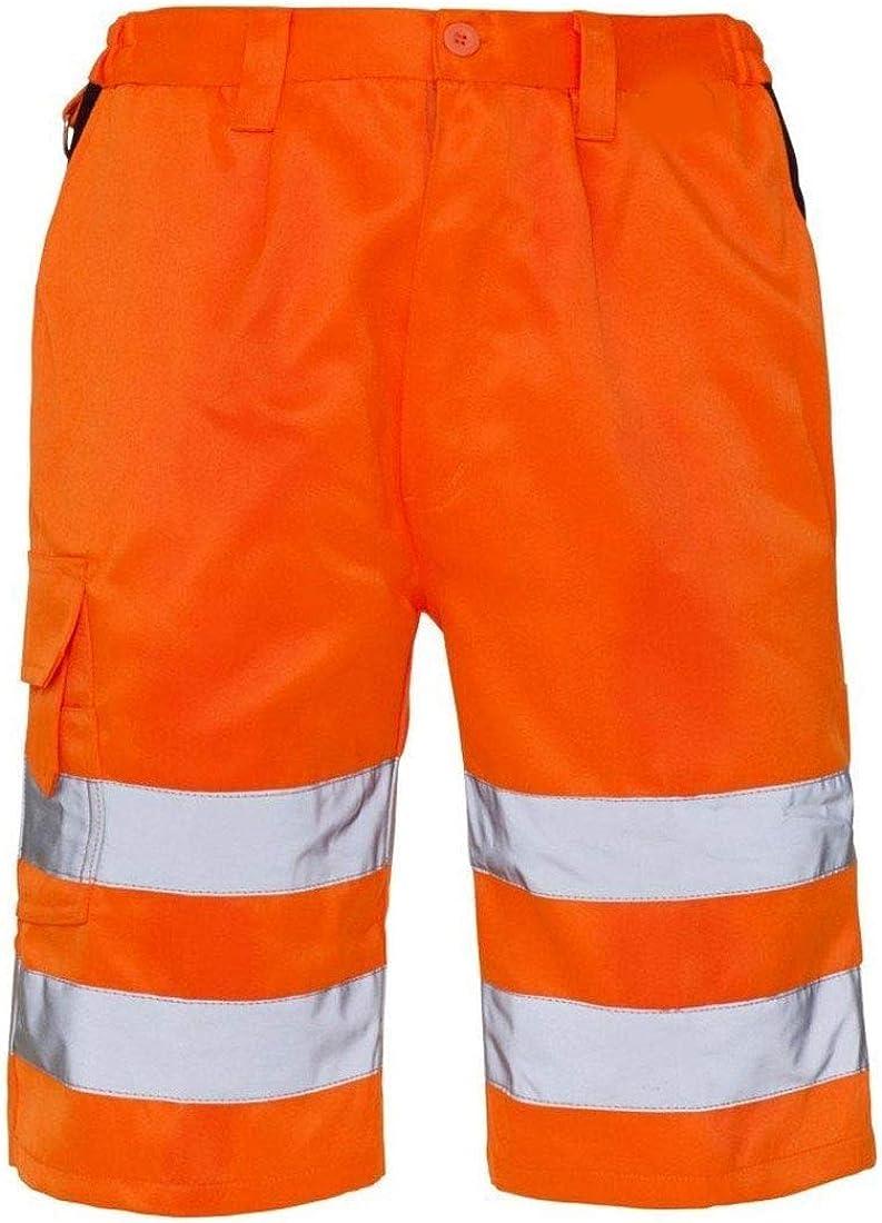 Tasca Laterale Ragazzo Pantaloni Corti da Lavoro da Uomo ad Alta visibilit/à Eshoppingwarehouse