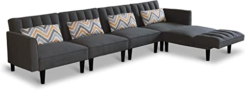 Modern Convertible Sectional Sofa Couch with Reversible Chaise Lounge L-Shaped Linen Fabric Sofa Sets with Adjustable Back Sofa Bed for Living Room Office Five-Seater, Dark Grey