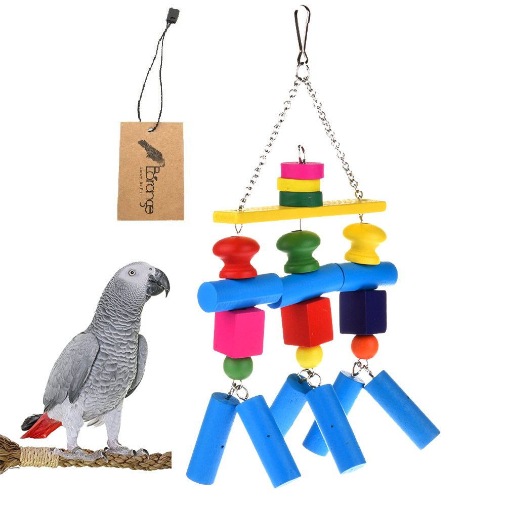 Borange Large Parred Chewing Toys Parred Knots Block Chew Toy colorful Natural Wood Hanging Toys for for Large and Medium Birds Macaw African Greys Eclectus Cockatiel Conure Cage Accessories
