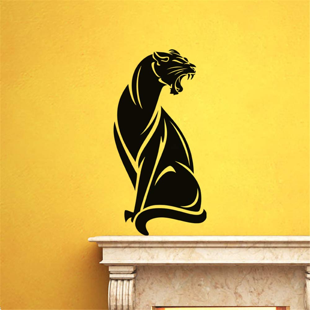 Amazon com vinyl stickers wall home decor wall decor art sticker home decals silhouette cougar sitting in fire for nursery kids room boys girls room wall