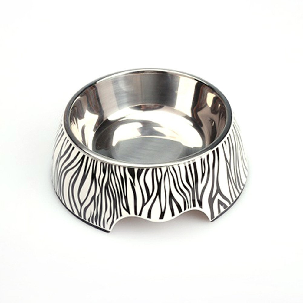 Pet Bowl Homeself Removable Zebra Melamine Plastic Stainless Steel Non Skid Dog Feeding Watering Easy to Clean Dishwasher Safe for Dogs and Cats (M)