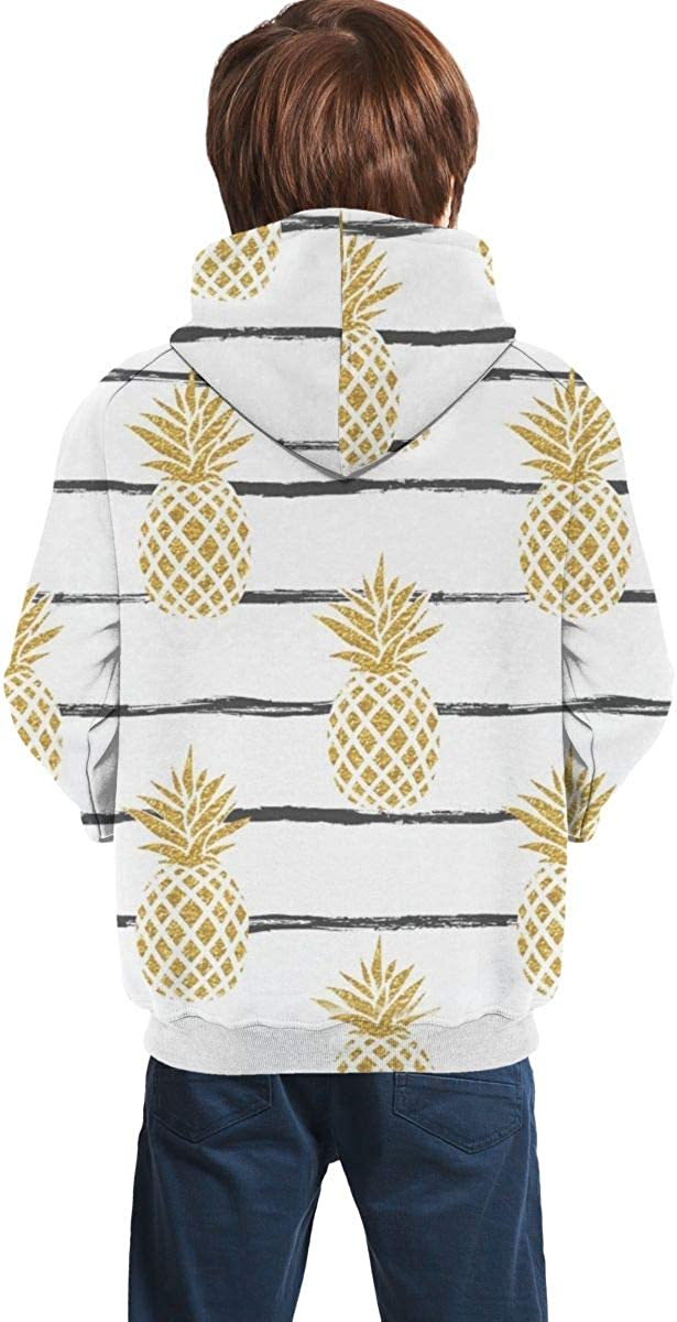 Lichenran Summer Gold Pineapple Unisex Pullover Teens Hoodie Hooded Sweatshirt Colorful