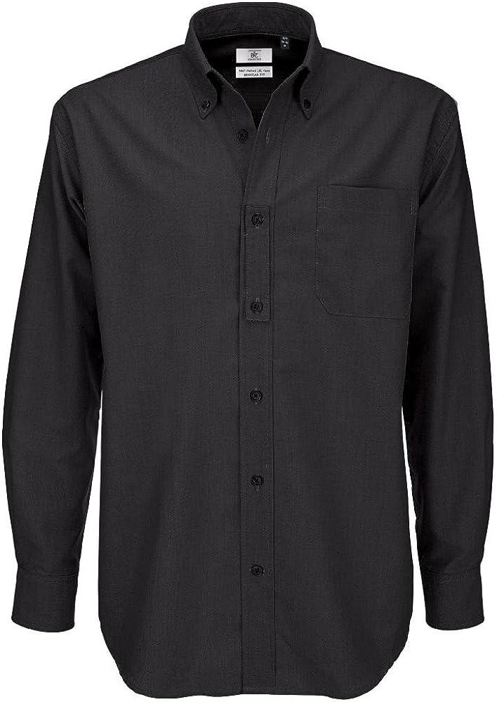 Camisa B&C para hombre, tela Oxford, de manga larga, camisas para hombre Negro negro XXX-Large: Amazon.es: Ropa y accesorios