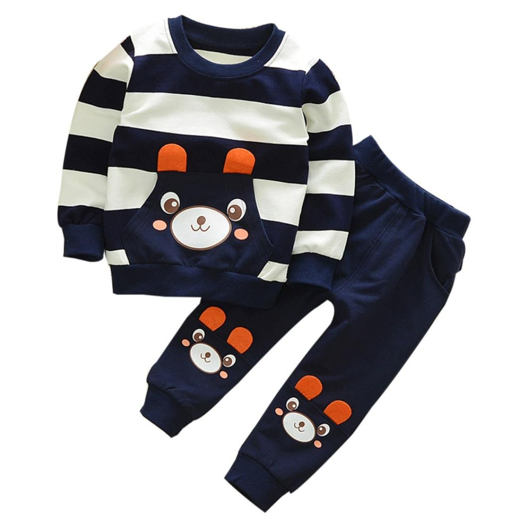 Challen Autumn Winter Kids Baby Girl Boy Clothes Set Striped Bear Tops+Pants Outfits (120)