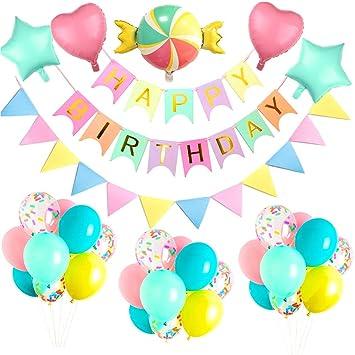 MMTX Yansion Decoraciones con Globos de Fiesta de Feliz cumpleaños, Pancarta de cumpleaños con Globo de corazón para Bodas para niños, cumpleaños ...