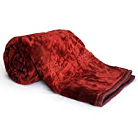 Little India Embossed Floral Microfibre Double Blanket - Maroon
