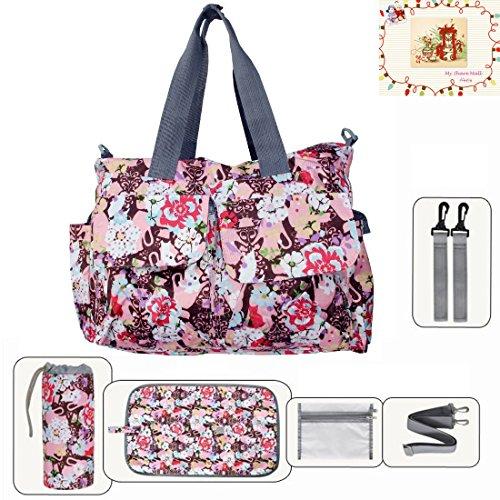 MSM Original Floral Designer Diaper Tote Bags (Rose Red) (Msm Rose)