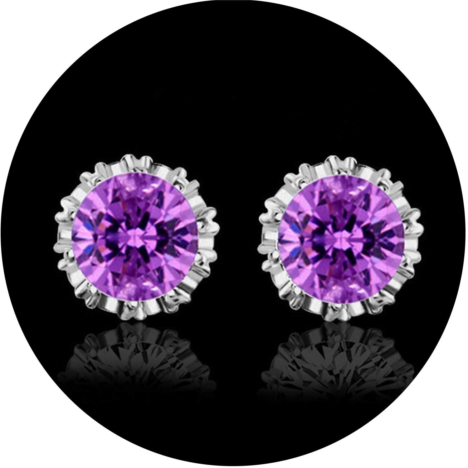 925 Sterling Silver Fashion Jewelry 8MM Round 2 Carat Cubic Zirconia Silver Stud Earrings for Women