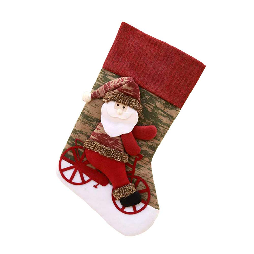 Mome ʕ •ᴥ•ʔ 2018 Newest Christmas Ornament ʕ •ᴥ•ʔ Christmas Santa Socks Cute Baby Ornaments Festival Party Home Bedroom Xmas Tree Hanging Decoration (Red)