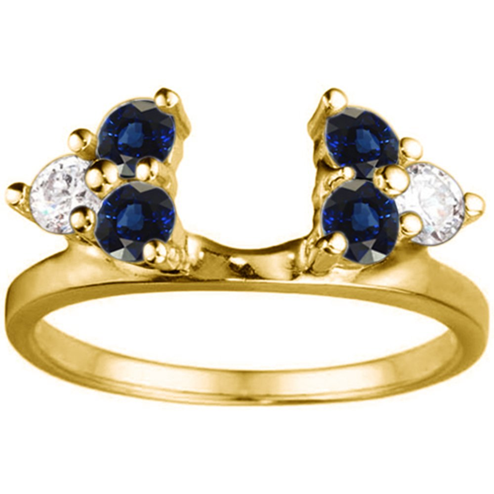 Diamond and Sapphire Ring Wrap in Yellow Silver,(G-H,I2 to I3)(0.12Ct) Size 3 To 15 in 1/4 Size Interval