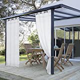 PONY DANCE Outdoor Sheer for Patio Grommet Top Volie Outdoor Curtain Drapes for Gazebo Window Treatments Mildew Resistant with Curtain Rope, 54'' W by 108'' L, One Panel