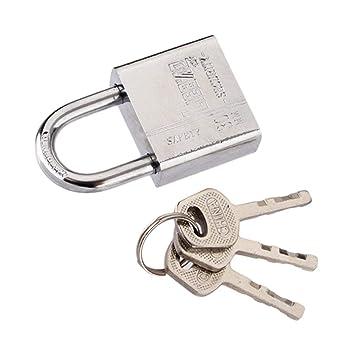 ESjasnyfall plateado 3 llaves Uso duradero Trabajo pesado Alta seguridad Cerradura s/ólida Puerta Puerta Caja Seguridad Candado de acero inoxidable