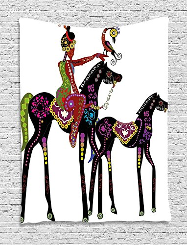 XHFITCLtd Ethnic Tapestry, Abstract Ancient Tribal Design of a Woman on a Horse with a Bird Animal Fun Image, Wall Hanging for Bedroom Living Room Dorm, 60 W X 80 L Inches, Multicolor by XHFITCLtd