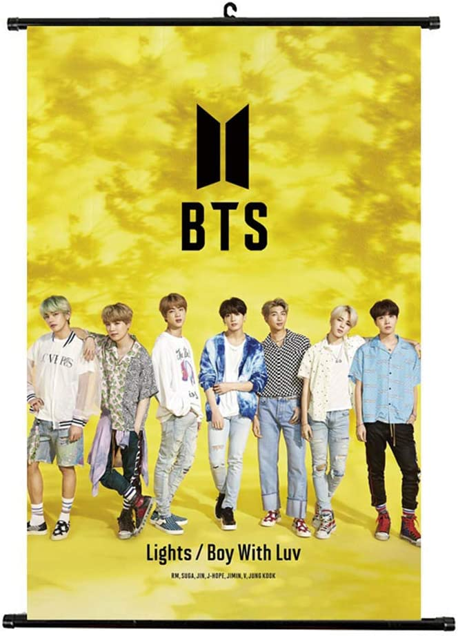 Beautymei Kpop BTS Poster Bangtan Boys Characters Home Decor Poster Wall Scroll Hanging Paintings 1.H01