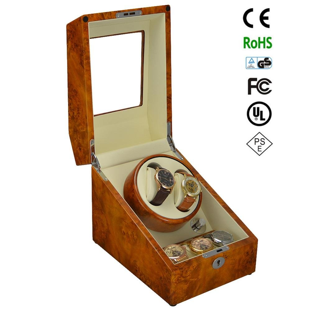 KAIHE-BOX Luxury Single 2+3 Watch Winder (many color ) Display Box Case [100% Handmade] GC03-S24BB , Yellow