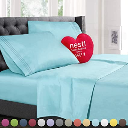 Queen Size Bed Sheets Set Light Blue, Highest Quality Bedding Sheets Set On  Amazon,