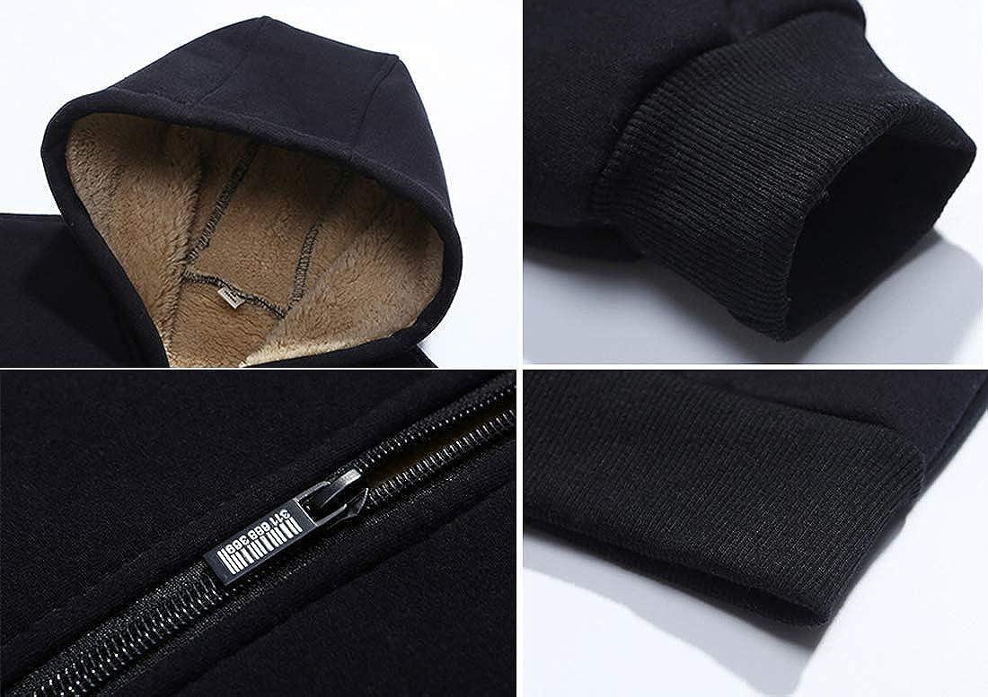 Yeokou Mens Outdoor Warm Sherpa Lined Zipper Hooded Sweatshirt Jacket Pocket