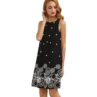 Mini Vestido Corto,FAMILIZO Vestidos Rectos Mujer Verano ❤️S~XL Verano Vestidos Sin