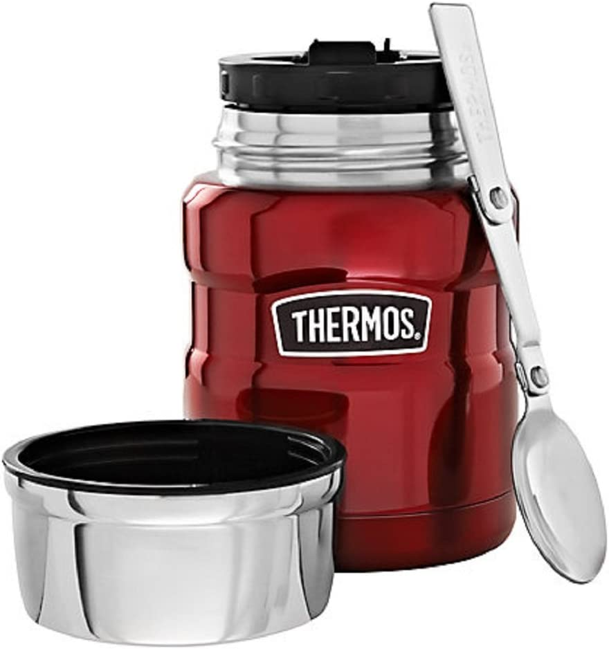 Genuine Thermos Stainless King Food Jar with Folding Spoon, 16-Ounce, Cranberry