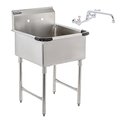 DuraSteel 1 Compartment Stainless Steel Commercial Food Preparation Sink  With 10u0026quot; No Lead Faucet,