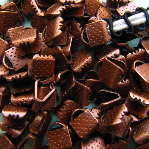 144pcs 6mm or 1/4 inch Ribbon Clamps with Loop - Antique Copper