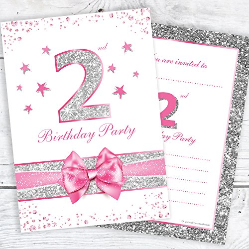 Olivia Samuel 1st Birthday Party Invitations Ready to Write with Envelopes Pack 10 Unicorn /& Rainbow Pink Invites