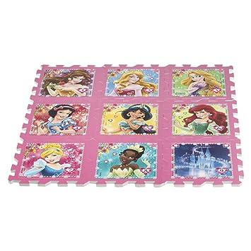 ColorBaby - Alfombra puzzle goma Eva de Princesas Disney, 9 piezas, 93 x 93