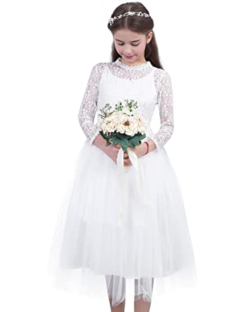 YiZYiF Vintage Lace Long Sleeved Flower Girl Dress Junior Wedding Party 1st Holy Communion Dresses White