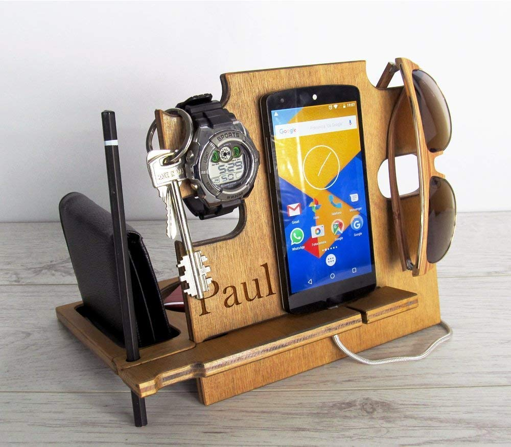 Gift for Him, Personalized gift, Docking Station, Charging Station, iPhone dock, iPhone stand, Cell Phone Stand, Desk Organizer, Android Docking Station