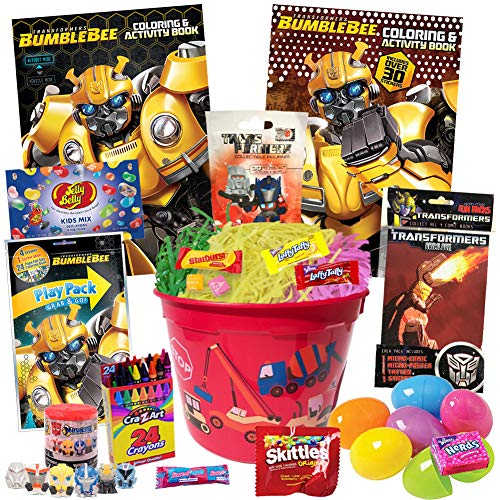 Transformers Bumblebee Easter Basket Stuffers 22 Piece Kit, Includes Transformers Coloring Books, Comic, Stickers, Play Pack, Blind Bags, Jelly Beans, Easter Eggs, Easter Candy, Easter Grass and More ()