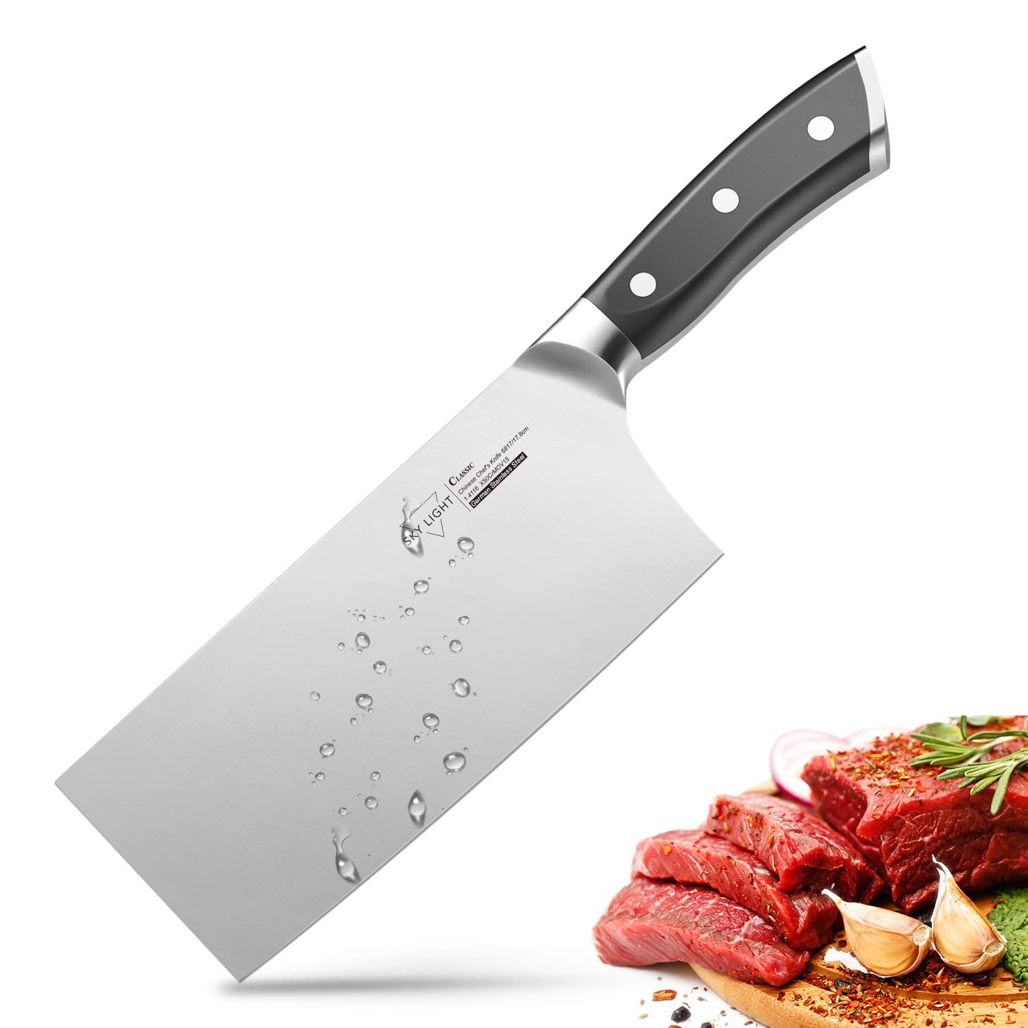 7'' Cleaver, Chinese Butcher Knife German High Carbon Stainless Steel Kitchen Knife with Ergonomic Handle for Kitchen and Restaurant