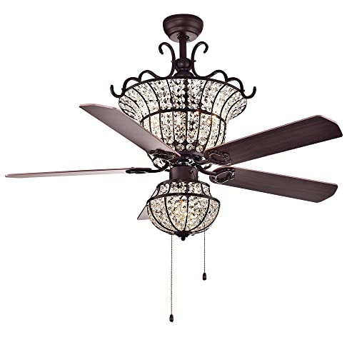 Warehouse of Tiffany CFL-8154BR Charla 4-Light Crystal 52 inch Chandelier Ceiling Fan