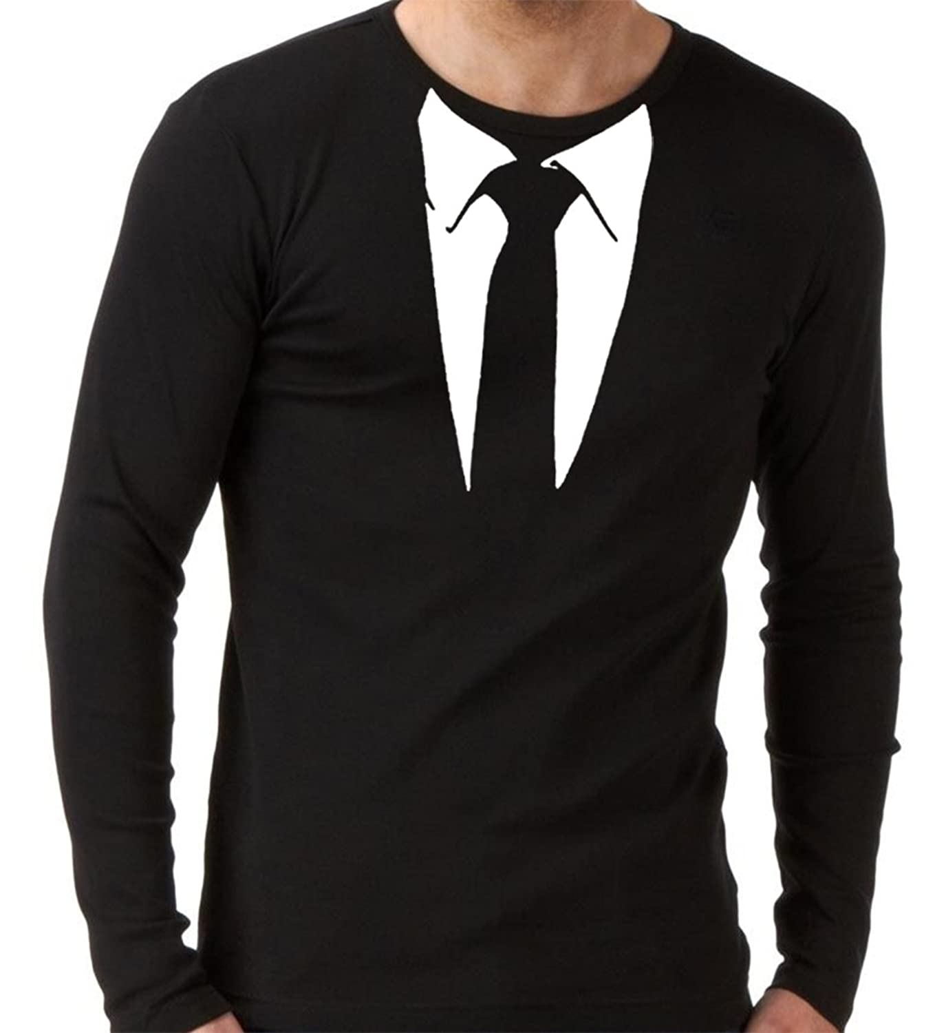 Black t shirt with suit - Suit And Black Tie Long Sleeve T Shirt Funny Stag Fancy Dress Party Amazon Co Uk Clothing