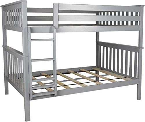 Max Lily Solid Wood Full Over Full Bunk Bed, Grey