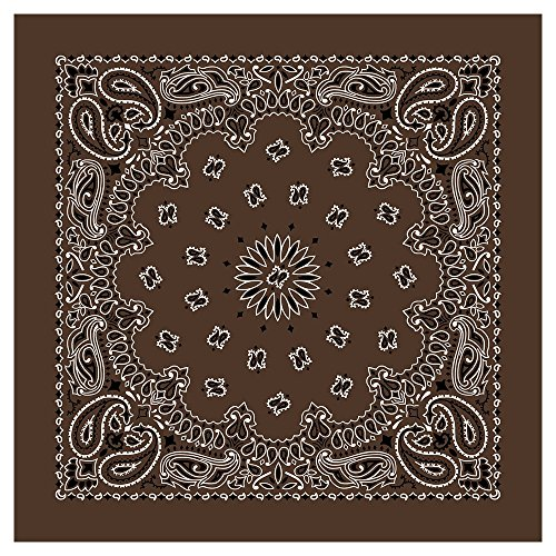 """(100% Cotton Western Paisley Bandanas (22"""" x 22"""") Made in USA - Cocoa Brown Single Piece 22x22 - Use For Handkerchief, Headband, Cowboy Party, Wristband, Head Scarf - Double Sided)"""