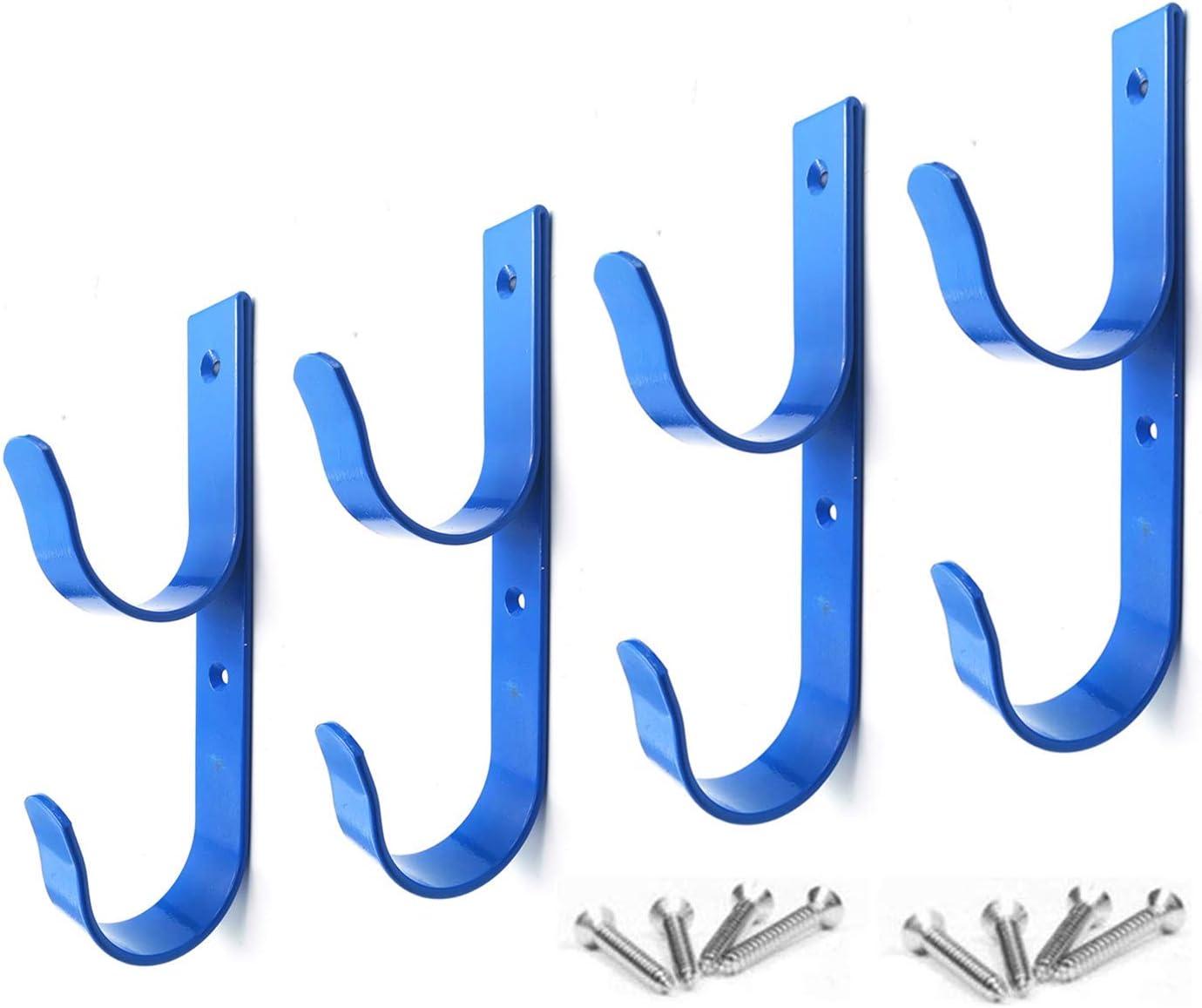 4 PCS Set Wide Pool Pole Hangers Heavy Duty Blue Aluminium Holder Hooks with Screws Perfect Hook Holders for Swimming Pool,Telescopic Poles,Skimmers,Nets Brushes,Vacuum Hose,Garden Equipment Etc