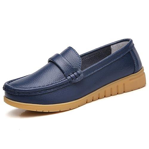 Mocasines de Cuero Mujer Loafers Zapato Plano Verano Primavera Otoño