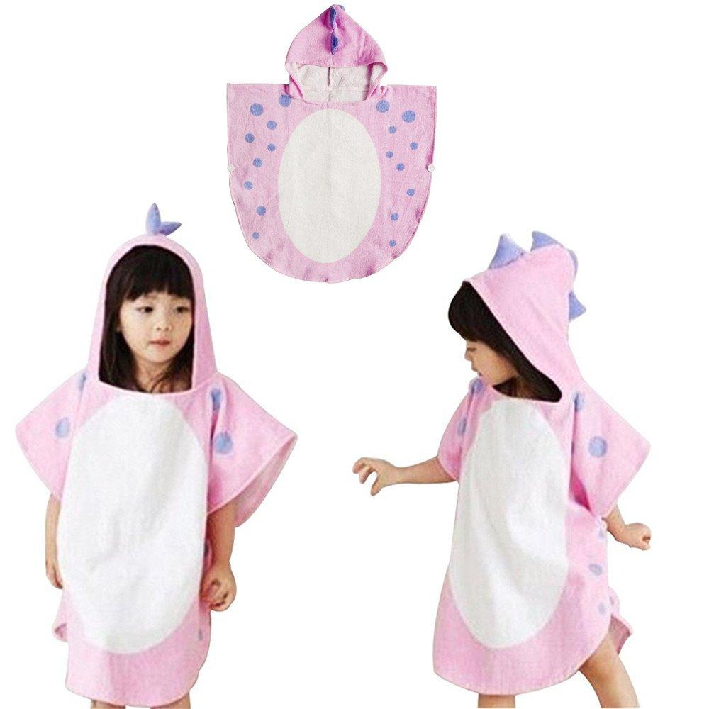 Kids Hooded Towel Dinosaur Capped Beach Towel Poncho Cute Horned Shape Design Hooded Bathrobe Animal Cloak Cape (Green, 55*115 cm/21.6*45.2 inch) JYSPT